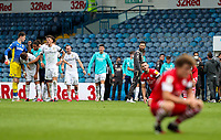 Leeds United players celebrates after the final whistle<br /> <br /> Photographer Alex Dodd/CameraSport<br /> <br /> The EFL Sky Bet Championship - Leeds United v Barnsley - Thursday 16th July 2020 - Elland Road - Leeds<br /> <br /> World Copyright © 2020 CameraSport. All rights reserved. 43 Linden Ave. Countesthorpe. Leicester. England. LE8 5PG - Tel: +44 (0) 116 277 4147 - admin@camerasport.com - www.camerasport.com