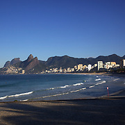 An early morning beach scene at Ipanema beach, Rio de Janeiro, Brazil. 12th July 2010. ...
