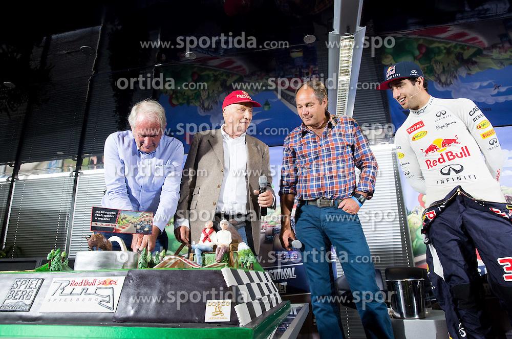 Motorsport consultant Helmut Marko (Red Bull), chairman of the advisory board Niki Lauda (Mercedes GP), Gerhard Berger and Formula 1 driver Daniel Ricciardo (AUS) of Infiniti Red Bull Racing  during press conference at Spielberg Red Bull Showrun, on April 22, 2015 in Rathausplatz, Vienna / Wien, Austria. Photo by Vid Ponikvar / Sportida