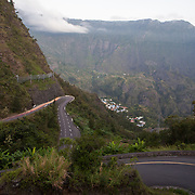 The windy road to the village of Cilaos in Cirque de Cilaos