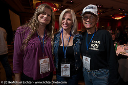 The three female Cannonballers - Chris Simmons (L), Sharon Jacobs Portrait and Linda Monahan at the kickoff banquet before the Motorcycle Cannonball Race of the Century Run. Atlantic City, NJ, USA. September 9, 2016. Photography ©2016 Michael Lichter.