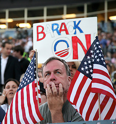 A face in the crowd at the Democratic National Convention, Invesco Field at Mile High Stadium, Denver, Colorado, August 28, 2008.