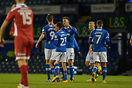 Portsmouth Players Celebrate after Portsmouth Forward, Oliver Hawkins (9) scores a goal to make it 2-0 during the EFL Trophy match between Portsmouth and Crawley Town at Fratton Park, Portsmouth, England on 3 October 2017. Photo by Adam Rivers.
