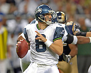 Seattle quarterback Matt Hasselbeck during game action against St. Louis at the Edward Jones Dome in St. Louis, Missouri, October 9, 2005. The Seahawks beat the Rams 37-31.