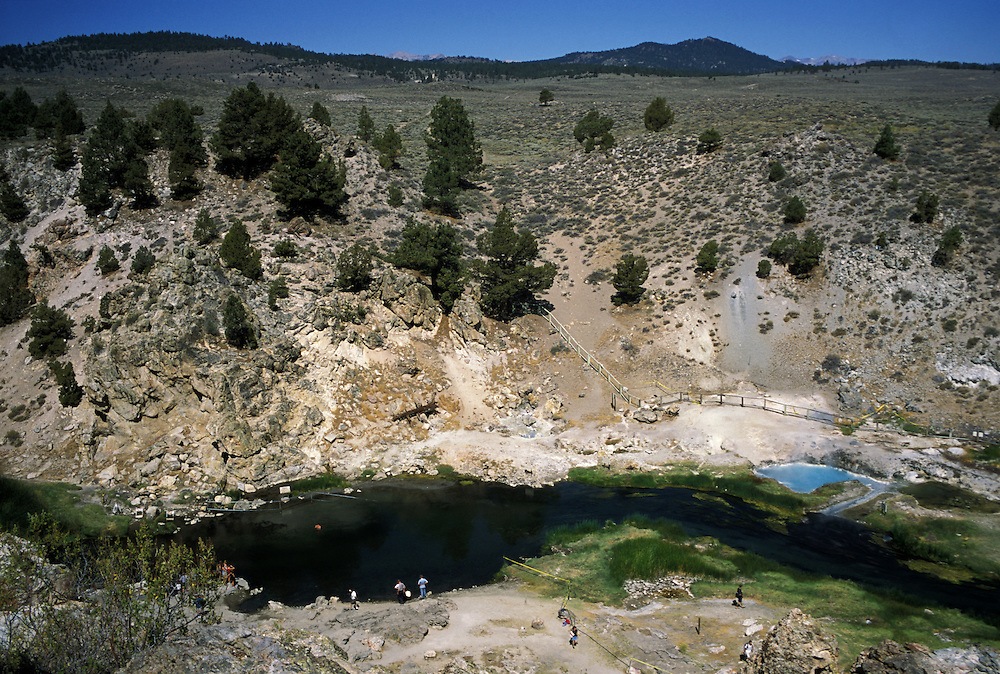 The Benton Hot Springs in Mammoth Lakes, California provide soaking relief in the scenic Sierra Mountains. Hot creek runs through a narrow gorge and empties into the Owens River.