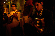 "Guita player Diogo Valente performing at restaurant ""Mesa de Frades"", an old chapel in Alfama typical neighborhood"