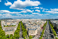 aerial view champs elysees cityscape of Paris in france