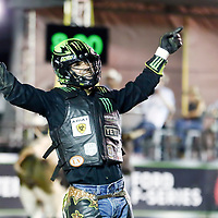 CHEYENNE, WY - JULY 27: Jose Vitor Leme celebrates following his ride of bull Midnight Flyer during the Professional Bull Riders Last Cowboy Standing on July 27, 2021, at the Cheyenne Frontier Days, Cheyenne, WY. (Photo by Chris Elise)