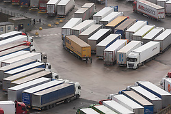 © Licensed to London News Pictures. 22/12/2020. Dover, UK.  Ttrucks and vehicles are parked near the closed Port of Dover as the French government have prohibited travel due to a new UK outbreak of the Covid-19 disease<br /> Photo credit: London News Pictures