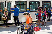 Commuters using public transit, Richmond, BC, Canada