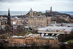 Scottish National Gallery, The Wallace Monument, The Balmoral Hotel and Calton Hill, Edinburgh as seen from the Edinburgh Castle Esplanade.