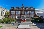 A general view looking at the monument dedicated to the people of Dover outside Dover Townhall on Saturday, Sept 5, 2020. Authorities have issued warnings over the announced rival far-right and pro-migrant groups preparing to descend on the coastal town on Saturday, Sept 5, 2020. Heavy police forces including horseback police are deployed in coastal town over the fears of violence against the refugees announced by far-right groups who are expected to assemble to demonstrate over migrant crossings. Dover MP Natalie Elphicke has urged people to stay away from the protests given the backdrop of the Covid-19 pandemic. British media reports say that on Friday, an activist group projected pro-immigrant messages onto the White Cliffs of Dover ahead of the protests saying 'Rise above fear. Refugees welcome' (VXP Photo/ Vudi Xhymshiti)