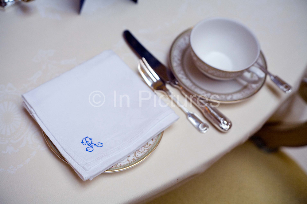 A place setting at a table at the Ritz Hotel, London