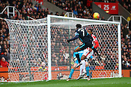 Raheem Sterling of Manchester City heads across the goal. Barclays Premier league match, Stoke city v Manchester city at the Britannia Stadium in Stoke on Trent, Staffs on Saturday 5th December 2015.<br /> pic by Chris Stading, Andrew Orchard sports photography.