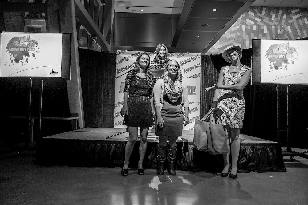 Akron Art Prize team (Kat Wentz, Kelli Fetter and Courtney Cable) are introduced by DAP president, Suzie Graham at the finale reception