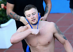June 23, 2017 - Rome, Italy - Adam Peaty (ENG) with the gold medal during the award ceremony after competing in Men's 100 m Breaststroke Final A and setting the new record of the competition at the international swimming Trofeo Settecolli at Piscine del Foro Italico in Rome, Italy on June 23, 2017. (Credit Image: © Matteo Ciambelli/NurPhoto via ZUMA Press)