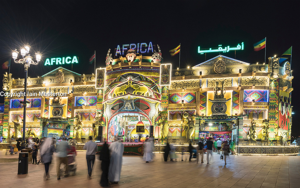 Illuminated Africa Pavilion at night at Global Village 2015 in Dubai United Arab Emirates