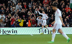 Gareth Bale of Wales (Real Madrid) celebrates his goal. - Photo mandatory by-line: Dougie Allward/JMP - Tel: Mobile: 07966 386802 03/03/2014 -
