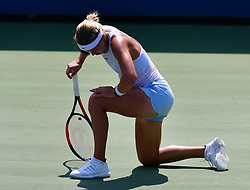 NEW YORK, Aug. 29, 2018  Anna Karolina Schmiedlova of Slovakia kneels down during the women's singles first round match against Wang Yafan of China at the 2018 US Open tennis championships in New York, the United States, Aug. 28, 2018. Wang Yafan won 2-1. (Credit Image: © Xinhua via ZUMA Wire)