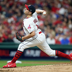 October 5, 2017 - Cleveland, OH, UKR - Cleveland Indians starting pitcher Trevor Bauer delivers in the first inning against the New York Yankees in Game 1 of the American League Division Series on Thursday, Oct. 5, 2017, at Progressive Field in Cleveland. (Credit Image: © Phil Masturzo/TNS via ZUMA Wire)