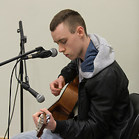 Cian Cahill from Bodyke plays the guitar during the Fishbowl Youth open day/15 yr celebration @ Scariff Library