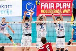 Bartosz Kurek #6 of Poland and Danijel Koncilja #11 of Slovenia during volleyball match between National teams of Slovenia and Poland in 4th Qualification game of CEV European Championship 2015 on May 23, 2014 in Arena Stozice, Ljubljana, Slovenia. Photo by Urban Urbanc / Sportida