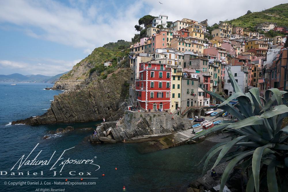 The seaside fishing village of Riomaggiore, Italy