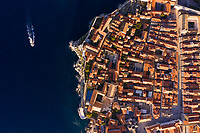 Aerial view above of Dubrovnik old town surrounding by wall, Croatia.