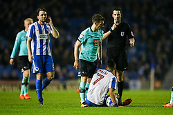 Craig Bryson of Derby County leans on Beram Kayal of Brighton & Hove Albion following his foul - Mandatory by-line: Jason Brown/JMP - 10/03/2017 - FOOTBALL - Amex Stadium - Brighton, England - Brighton and Hove Albion v Derby County - Sky Bet Championship