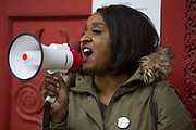Delia Mattis of United for Black Lives UBL and Kill The Bill addresses activists outside St Pancras Church during a March On The Motorway event organised by Burning Pink to coincide with the eve of the London Mayoral election on 5th May 2021 in London, United Kingdom. She was critical of Sadiq Khans record in helping the black community during his term of office as Mayor of London. United for Black Lives is a coalition of Black Lives Matter BLM groups from across the UK.