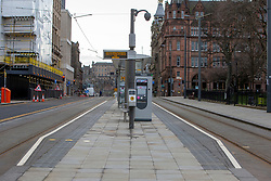 Tram stop, St Andrews Square. Edinburgh city centre on Tuesday 25th March, after the Lockdown.