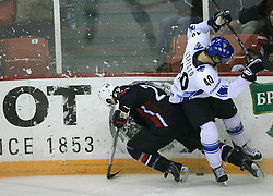 Jason Pominville (29) of USA and Sami Lepisto of Finland at play-off round quarterfinals ice-hockey game USA  vs Finland at IIHF WC 2008 in Halifax,  on May 14, 2008 in Metro Center, Halifax, Nova Scotia,Canada. Win of Finland 3 : 2. (Photo by Vid Ponikvar / Sportal Images)