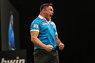 Gerwyn Price hits a double during the BWIN Grand Slam of Darts at Aldersley Leisure Village, Wolverhampton, United Kingdom on 18 November 2018.