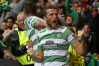 Football - 2013 / 2014 Champions League - Qualifying, Play-Off Round, Second Leg: Celtic vs. Shakhter Karagandy<br /> <br /> Adam Mathews helps James Forrest of Celtic celebrate after he scores Celtic's third goal during the Celtic and Shakhter Karagandy Champions League qualification match at Parkhead Stadium, Glasgow on August 28th August 2013.<br /> <br /> Ian MacNicol/Colorsport