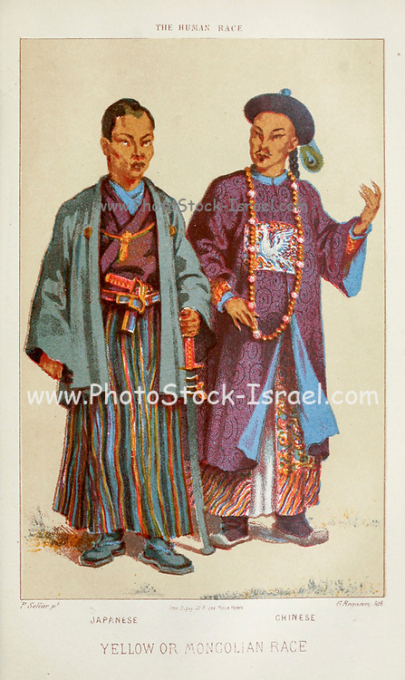 Japanese (Left) and Chinese (Right) Hand painted engraving on wood From The human race by Figuier, Louis, (1819-1894) Publication in 1872 Publisher: New York, Appleton