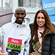 Mo Farah with wife Tania at The Vitality Big Half 2019 on 10 March 2019, London, UK.