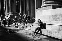 Worshippers entering the Metropolitan Museum of Art in New York City.