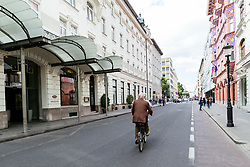 Bill Murray on bicycle after exclusive after-work get-together in the company of Slovenia Vodka on June 5, 2017 in Miklosiceva street, Ljubljana, Slovenia. Photo by Matic Klansek Velej / Sportida