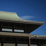 The Great Main Hall's stepped roof with copyspace of clear blue sky. The Narita-san temple, also known as Shinsho-Ji (New Victory Temple), is Shingon Buddhist temple complex, was first established 940 in the Japanese city of Narita, east of Tokyo.