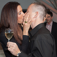 """Reka Rubint (L) and Norbert """"Norbi"""" Schobert (R) kiss each other during the birthday party of Hungarian celebrity Peter Hajdu (not in picture) celebrating the 35th birthday of the TV personality Budapest, Hungary. Thursday, 08. April 2010. ATTILA VOLGYI"""