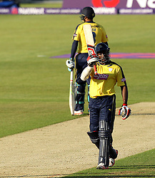 Hampshire's Michael Carberry raises his bat after reaching 50 - Photo mandatory by-line: Robbie Stephenson/JMP - Mobile: 07966 386802 - 04/06/2015 - SPORT - Cricket - Southampton - The Ageas Bowl - Hampshire v Middlesex - Natwest T20 Blast