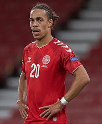 Yussuf Poulsen (Danmark) under UEFA Nations League kampen mellem Danmark og England den 8. september 2020 i Parken, København (Foto: Claus Birch).