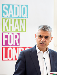 © Licensed to London News Pictures. 19/05/2015. London, UK. Labour mayoral candidate for Mayor of London Sadiq Khan speaks about London's health service at the Lyric Theatre, ahead of the London Mayoral election, taking place on 5 May 2016. Photo credit : Tom Nicholson/LNP