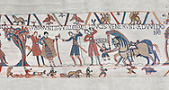 Bayeux Tapestry scene 10:  William sends messengers to Guy de Ponthieu ordering Harolds release. BYX10 .<br /> <br /> If you prefer you can also buy from our ALAMY PHOTO LIBRARY  Collection visit : https://www.alamy.com/portfolio/paul-williams-funkystock/bayeux-tapestry-medieval-art.html  if you know the scene number you want enter BXY followed bt the scene no into the SEARCH WITHIN GALLERY box  i.e BYX 22 for scene 22)<br /> <br />  Visit our MEDIEVAL ART PHOTO COLLECTIONS for more   photos  to download or buy as prints https://funkystock.photoshelter.com/gallery-collection/Medieval-Middle-Ages-Art-Artefacts-Antiquities-Pictures-Images-of/C0000YpKXiAHnG2k