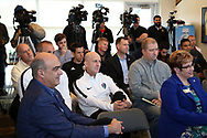 CARY, NC - FEBRUARY 28: Members of the media and local professional soccer coaches and staff attend the press conference including NCFC owner Steve Malik, North Carolina Courage (NWSL) head coach Paul Riley, North Carolina Football Club (USL) president Curt Johnson, and journalist Neil Morris. The United States Men's National Team held a press conference on February 28, 2018 at Sahlen's Stadium at WakeMed Soccer Park in Cary, NC to preview an international friendly they will be playing in the stadium on March 27th.