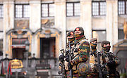 Nov. 23, 2015 - Brussels, BELGIUM - 20151122 - BRUSSELS, BELGIUM: <br /> <br /> Soldiers and police patrol the city center in Brussels. The terrorist threat level is being kept at level four, the maximum, for the time being, in Brussels region, and has be maintained at level three for the rest of the country. All schools in Brussels and the subway stay closed. <br /> ©Exclusivepix Media