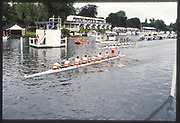 Henley, Great Britain, Tideway Scullers School crew celebrate victory over Thames RC., 1988 Henley Royal Regatta, Henley Reach, River Thames, Annual Event. [Mandatory credit: Peter Spurrier/Intersport Images]