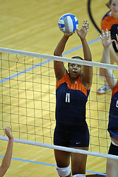 16 SEP 2008: A block by Kayani Turner during a match at Redbird Arena on the campus of Illinois State University in Normal Illinois.  The Illinois State Redbirds went toe to toe with the University of Illinois Illini but in the end were outpaced by the 23rd ranked Division 1 Illini team 3 sets to 1.