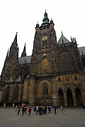 The front of St. Vitus's Cathedral in Prague Castle, Prague, Czech Republic. The castle, first constructed in the 10th century is the seat of government in the Czech Republic.