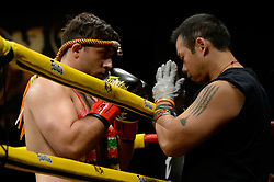 October 6, 2018 - Mashantucket, CT, U.S. - MASHANTUCKET, CT - OCTOBER 06: A preflight prayer between Samlullah Ahmady and his coach. Cole Fetzner (blue tape) takes on Samlullah Ahmady (red tape) in a Cruiserweight bout on October 06, 2018 at Lion Fight 47 at the Fox Theater of Foxwoods Casino in Mashantucket, Connecticut. Cole Fetzner defeats Samlullah Ahmady via TKO of round 4. (Photo by Williams Paul/Icon Sportswire) (Credit Image: © Williams Paul/Icon SMI via ZUMA Press)